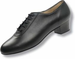 Buty z czarnej satyny do łaciny, obcas: 3 cm