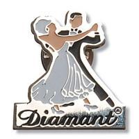 Znaczek metalowy z parą taneczną Diamanta